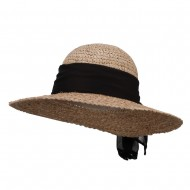 Accent Scarf Straw Sun Hat - Natural