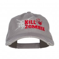 Kill Zombie Embroidered Cotton Frayed Cap - Grey