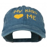 My Kids Love Me Embroidered Washed Cotton Cap - Navy