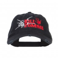 Kill Zombie Embroidered Cotton Frayed Cap - Black