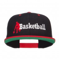 Basketball Player Embroidered Two Tone Snapback - Black Red