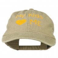 My Kids Love Me Embroidered Washed Cotton Cap - Khaki