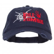 Kill Zombie Embroidered Cotton Frayed Cap - Navy