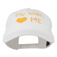 My Kids Love Me Embroidered Washed Cotton Cap - White