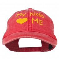 My Kids Love Me Embroidered Washed Cotton Cap - Red