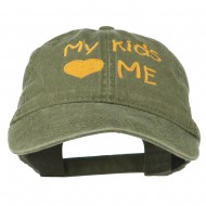 My Kids Love Me Embroidered Washed Cotton Cap - Olive