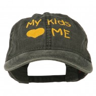 My Kids Love Me Embroidered Washed Cotton Cap - Black