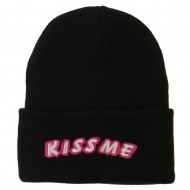 Kiss Me Embroidered Long Knit Beanie - Black