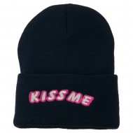 Kiss Me Embroidered Long Knit Beanie - Navy