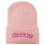 Kiss Me Embroidered Long Knit Beanie - Pink