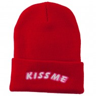 Kiss Me Embroidered Long Knit Beanie - Red