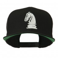 Chess Piece of a Knight Embroidered Flat Bill Cap - Black