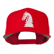Chess Piece of a Knight Embroidered Flat Bill Cap - Red