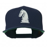 Chess Piece of a Knight Embroidered Flat Bill Cap - Navy