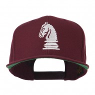 Chess Piece of a Knight Embroidered Flat Bill Cap - Maroon