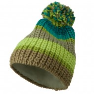 Colorful Knitted Pom Pom Beanie Cap - Green