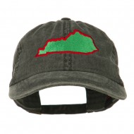 Kentucky State Map Embroidered Washed Cap - Black