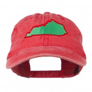 Kentucky State Map Embroidered Washed Cap - Red