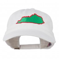 Kentucky State Map Embroidered Washed Cap - White