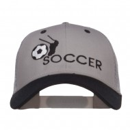 Kicking Soccer Embroidered Two Tone Trucker Cap - Black Grey