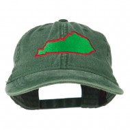 Kentucky State Map Embroidered Washed Cap - Dark Green