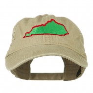 Kentucky State Map Embroidered Washed Cap - Khaki