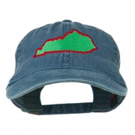 Kentucky State Map Embroidered Washed Cap - Navy