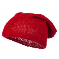 Knit Tam Beanie with Sequin - Red