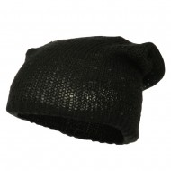 Knit Tam Beanie with Sequin - Black