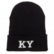 KY Kentucky State Embroidered Long Beanie - Black