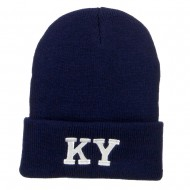 KY Kentucky State Embroidered Long Beanie - Navy