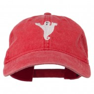 Halloween Spooky Ghost Embroidered Washed Dyed Cap - Red