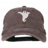 Halloween Spooky Ghost Embroidered Washed Dyed Cap - Brown