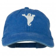 Halloween Spooky Ghost Embroidered Washed Dyed Cap - Royal