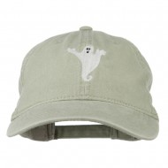 Halloween Spooky Ghost Embroidered Washed Dyed Cap - Stone