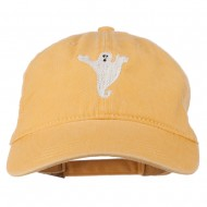 Halloween Spooky Ghost Embroidered Washed Dyed Cap - Yellow