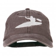 Sports Kayak Embroidered Washed Dyed Cap - Brown