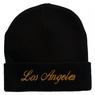 Los Angeles Embroidered Long Cuff Beanie - Black