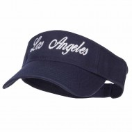Los Angeles Embroidered Washed Cotton Visor - Navy