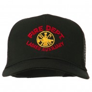 Fire Dept Ladies Auxiliary Embroidered Mesh Cap - Black