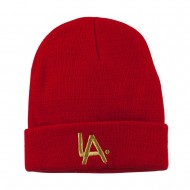 LA Embroidered Long Beanie - Red