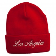 Los Angeles Embroidered Long Cuff Beanie - Red