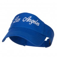 Los Angeles Embroidered Washed Cotton Visor - Royal