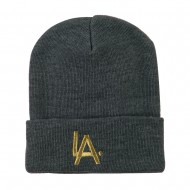 LA Embroidered Long Beanie - Grey