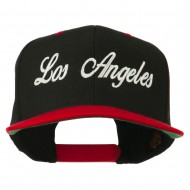 Los Angeles Embroidered Snapback Cap - Black Red