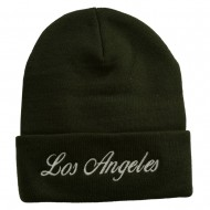 Los Angeles Embroidered Long Cuff Beanie - Green