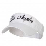 Los Angeles Embroidered Washed Cotton Visor - White