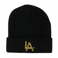 LA Embroidered Long Beanie - Black