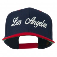 Los Angeles Embroidered Snapback Cap - Navy Red