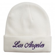 Los Angeles Embroidered Long Cuff Beanie - White